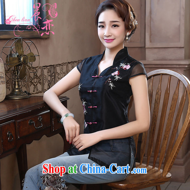 Morning dresses, new summer retro short improved stylish Chinese qipao shirt short-sleeved European root yarn embroidered black XL