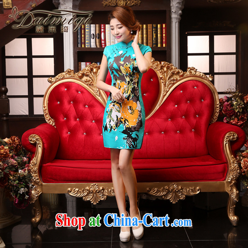 Dresses summer dresses skirts and stylish beauty summer cheongsam dress short retro improved female dresses summer and autumn day dresses 2015 new light blue XXL