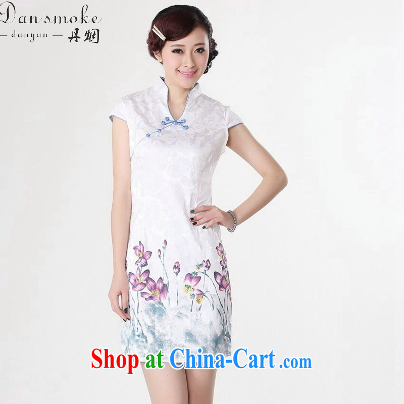 Dan smoke summer new Chinese cheongsam dress Chinese improved version hand-painted cotton, for elegant short cheongsam as shown color 2 XL