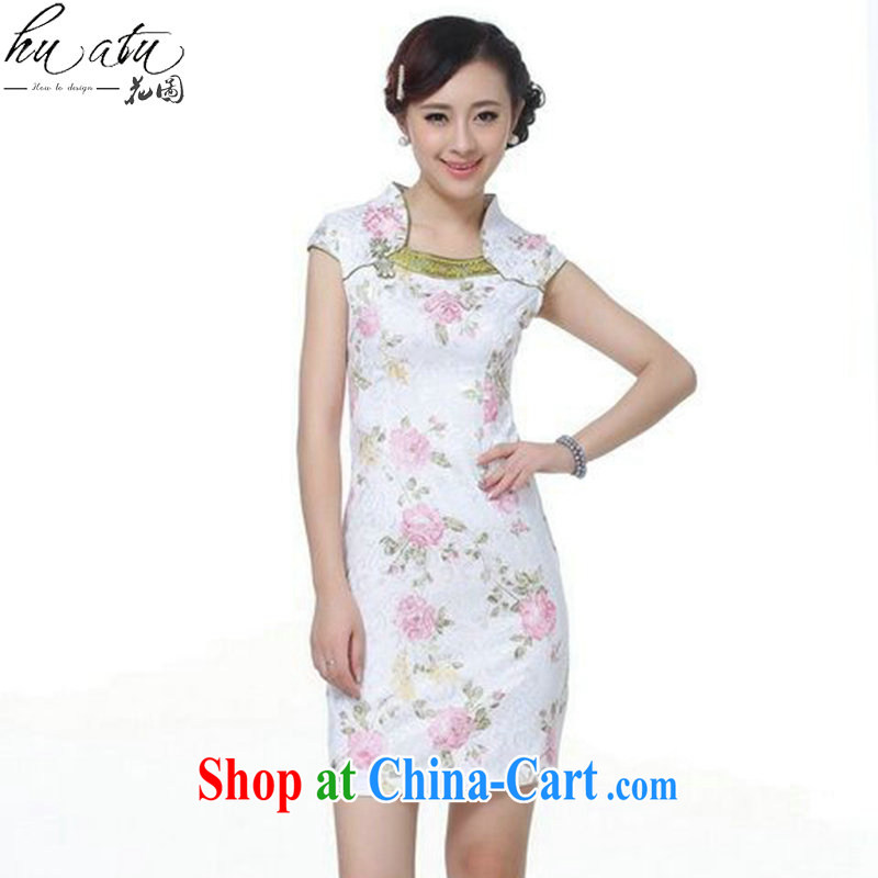 Bin Laden smoke-free Chinese cheongsam dress summer new Chinese Dress improved version daily, for jacquard cotton short cheongsam as color 2XL