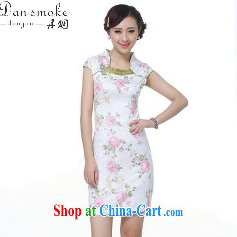 Take the Chinese cheongsam dress summer wear new Chinese Dress improved version daily, for jacquard cotton short dresses such as the color 2 XL