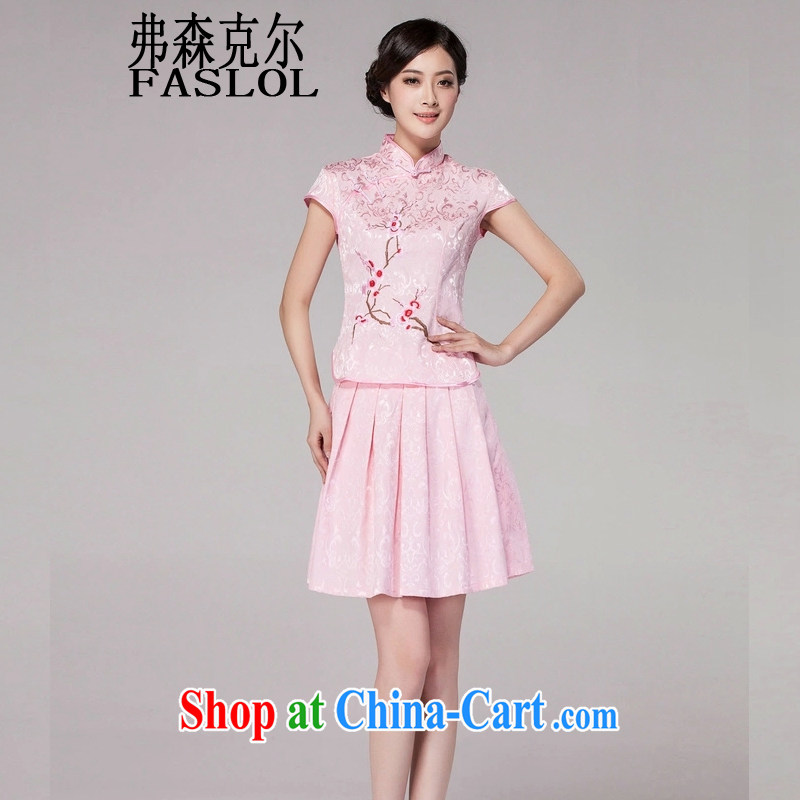 Frank, Michael 2015 spring and summer new female Chinese qipao day dresses high-end retro style two-part kit 1125 pink XXL