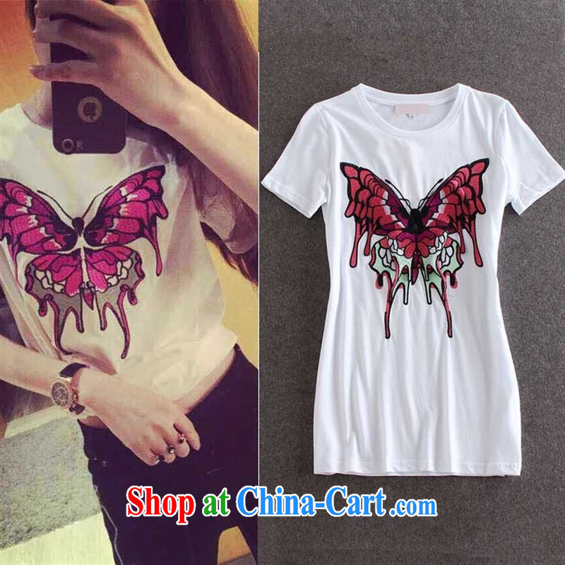 hamilton 2015 spring and summer new European and American Female European site butterfly stickers, embroidered short sleeves, long cotton shirt T white L