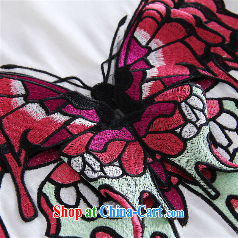 hamilton 2015 spring and summer new European and American Female European site butterfly stickers, embroidered short sleeves, long cotton shirt T L white, blue rain bow, and shopping on the Internet