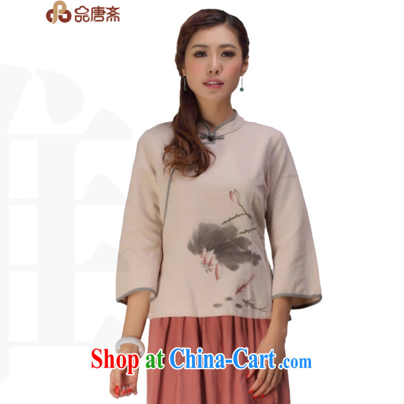 MR HENRY TANG _Id al-Fitr Tang is improved, Ms. Han-retro spring and summer with new tea serving China wind girls dresses T-shirt apricot L