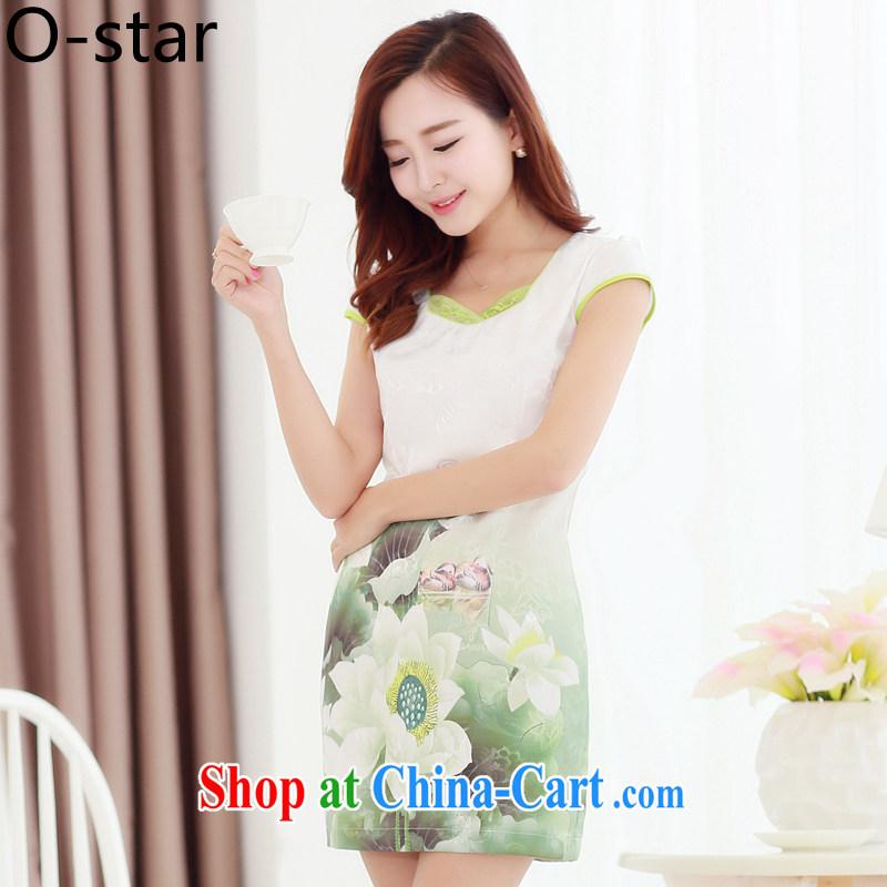 O - Star 15 Korean summer new embroidered short sleeves cultivating improved cheongsam dress retro-ink landscape painting cheongsam dress girls in short, lotus color S