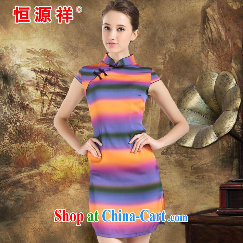 Leave a compensable 10 Li Hengyuan Cheung 2015 summer new Chinese improved stylish dresses Silk Cheongsam Ethnic Wind antique dresses Rainbow orange XXL