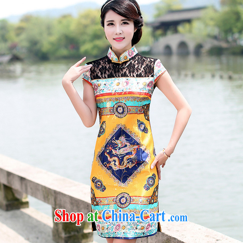 Jin Bai Lai improved cheongsam dress summer robes of the Dragon High-end wedding dress retro lace dresses classic short-sleeved toast clothing, tattoos, 4 XL