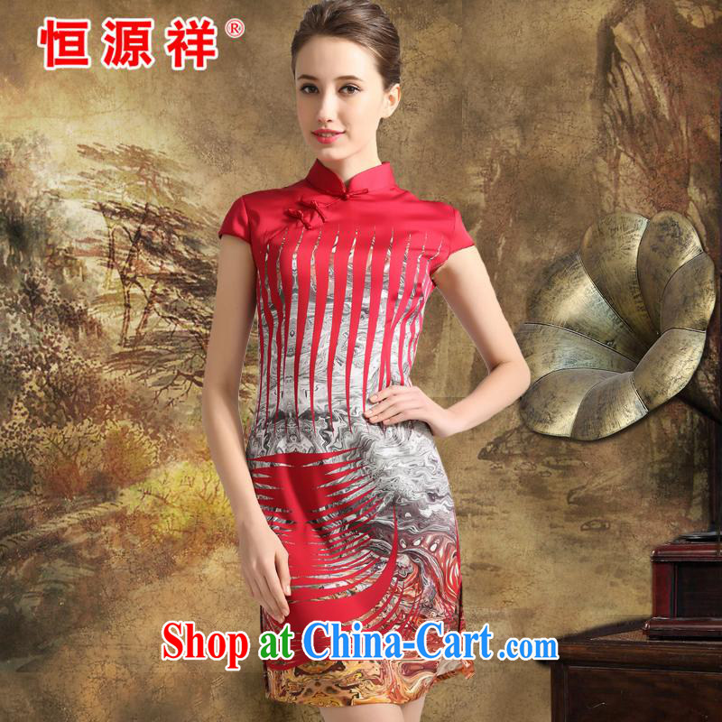 Leave a compensable 10 the Hang Seng Yuen Cheung-spring 2015 Jurchen, Silk Cheongsam sauna silk stamp dress dresses big silk girls skirt China spend XXL