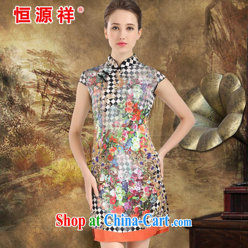 Leave a compensable 10 the Hang Seng Yuen Cheung-counters 2015 spring and summer women cheongsam Silk Dresses sauna silk high-end big Silk Cheongsam girls yellow XXL