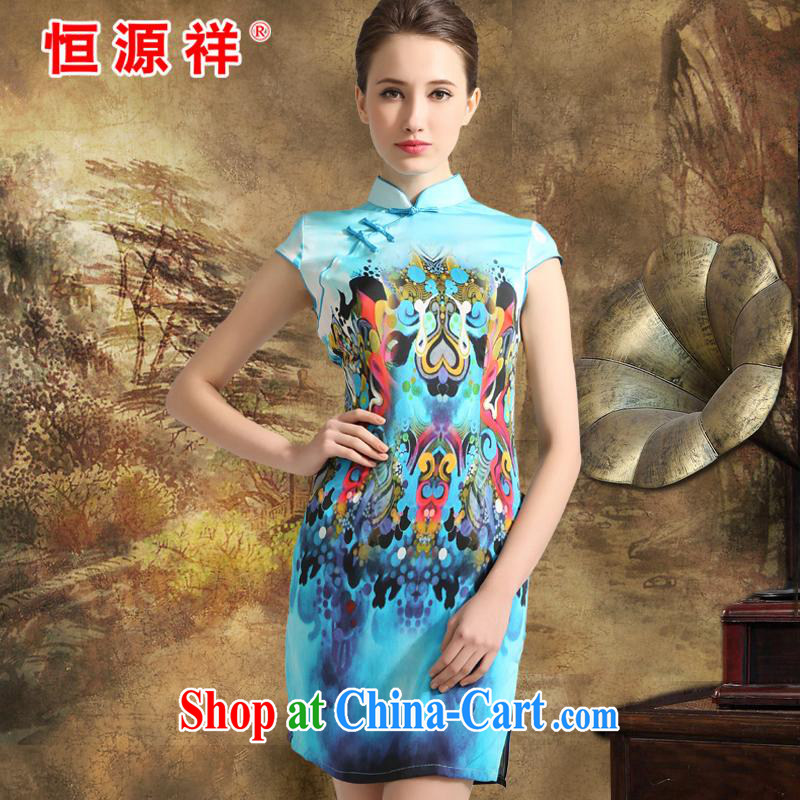 Mr Ronald ARCULLI is new, the Hang Seng Yuen Cheung-Ethnic Wind Silk Cheongsam dress women 2015 spring and summer Jurchen, silk dresses, silk skirt girls sky blue XXL