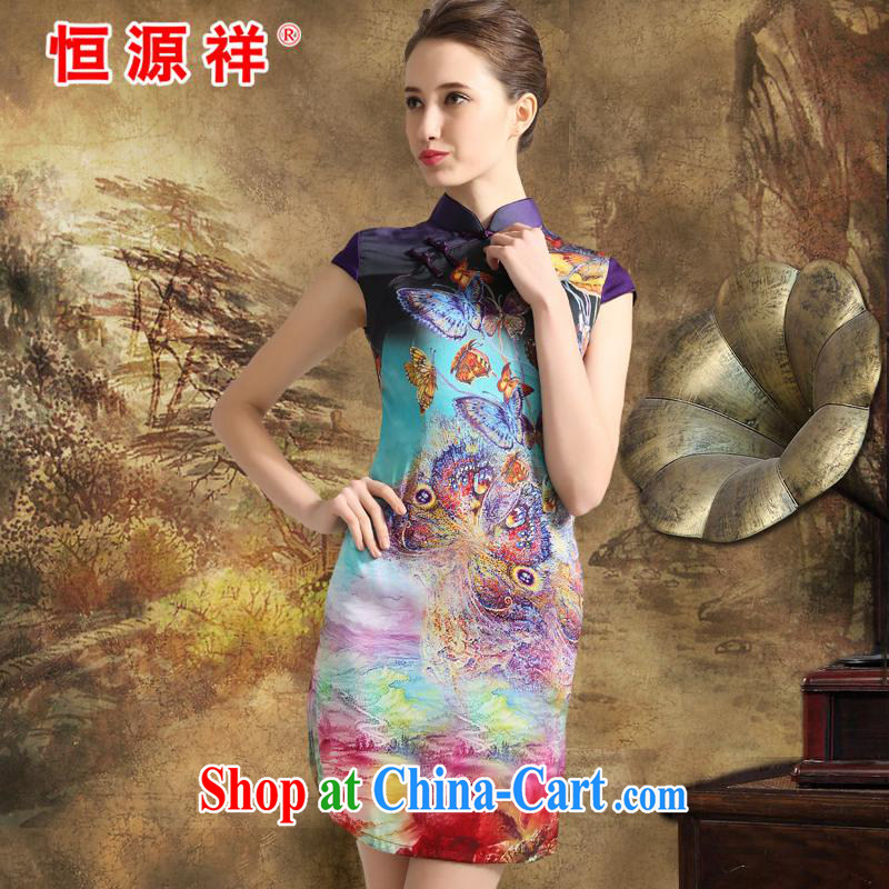 Mr Ronald ARCULLI is new, the Hang Seng Yuen Cheung-female 2015 spring and summer, stamp duty is silk cheongsam dress sauna silk female silk Silk Dresses purple colored disc XXL