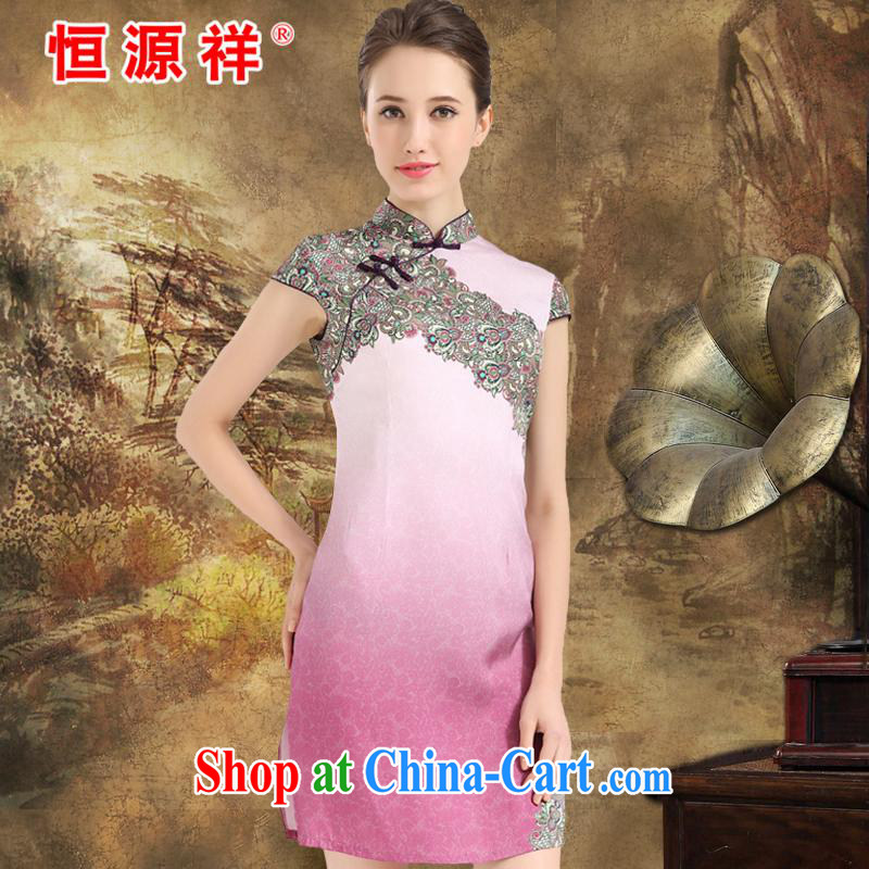 Mr Ronald ARCULLI is new, the Hang Seng Yuen Cheung-2015 summer new heavy Silk Cheongsam upscale sauna silk fashion dress retro improved Choi Wan toner XXL