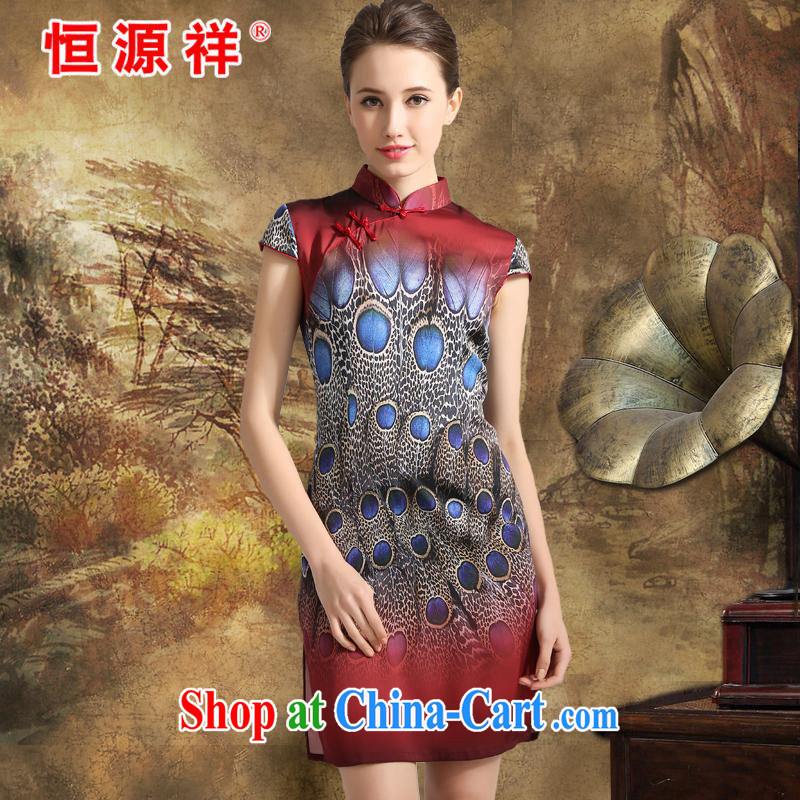 Mr Ronald ARCULLI is new, the Hang Seng Yuen Cheung-2015 spring and summer new, Ms. dos santos cheongsam silk further skirts, for female stamp Silk Dresses blue feathers red XXL