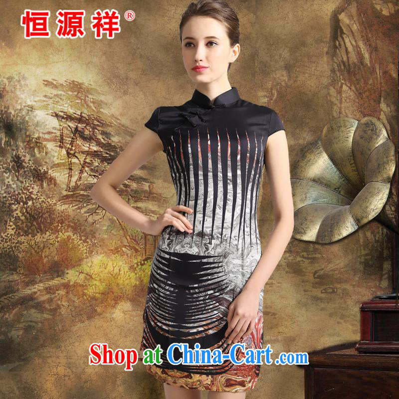 The 618 largest urges -- Hang Seng Yuen Cheung-in spring 2015 Jurchen, Silk Cheongsam sauna silk stamp dress dresses big silk skirt girls cold stunning black XXL
