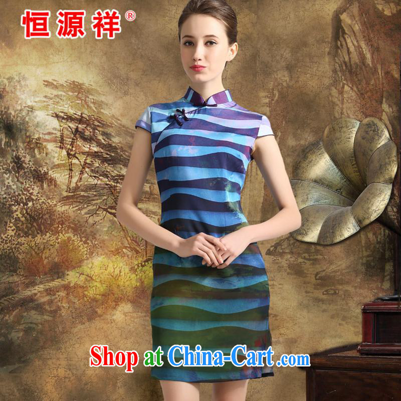 New listing the Hang Seng Yuen Cheung-2015 spring and summer, stamp Silk Dresses sauna silk The Silk Cheongsam Jurchen silk skirt Poland blue XXL