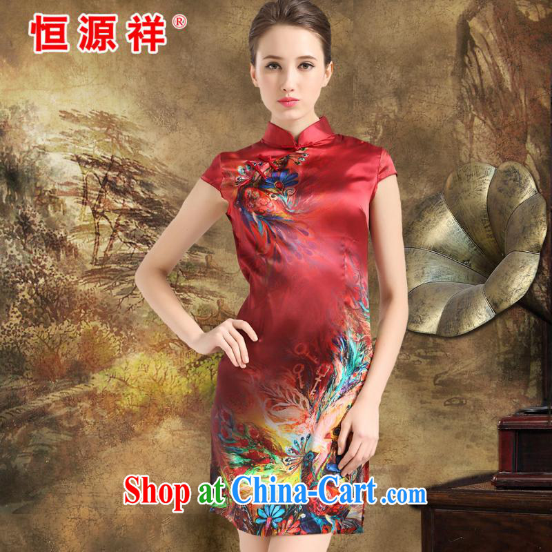 New product listing the Hang Seng Yuen Cheung-dresses new 2015 summer retro short-sleeved improved stylish sauna silk silk Chinese qipao dress Chinese red XXL