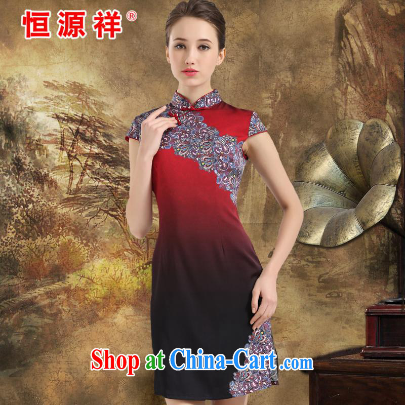 New product listing the Hang Seng Yuen Cheung-2015 summer new heavy Silk Cheongsam upscale sauna silk fashion dress retro improved Moon red XXL