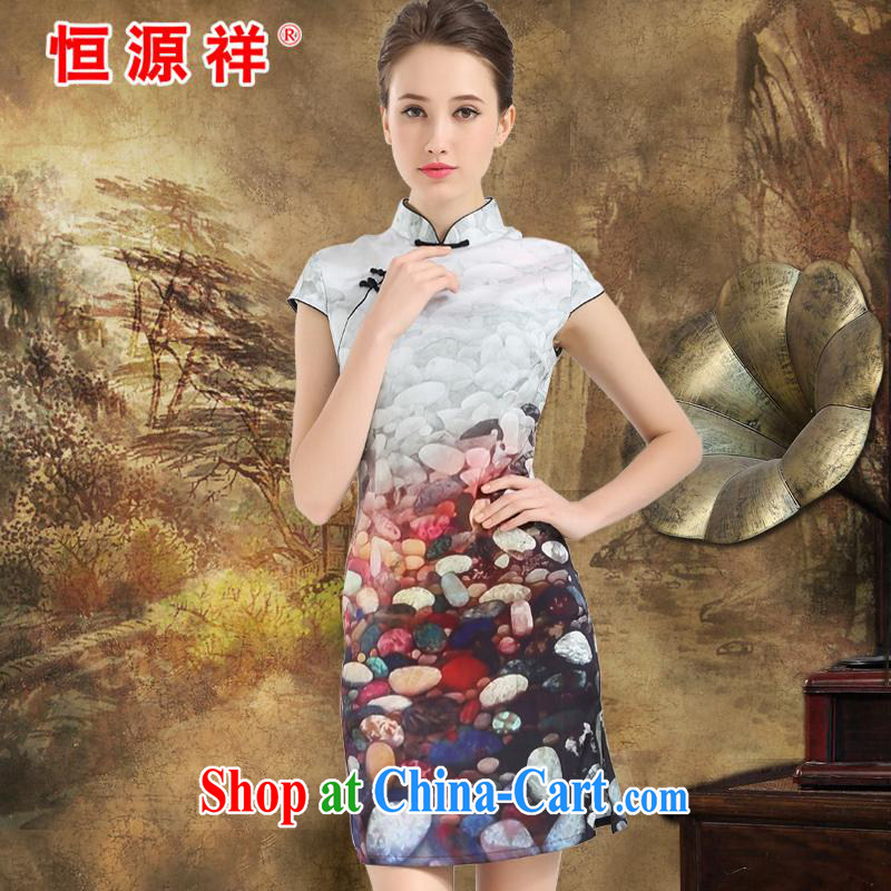 New listing the Hang Seng Yuen Cheung-2015 spring and summer Jurchen, Silk Cheongsam sauna silk heavy silk Silk Dresses stamp silk skirt white XXL