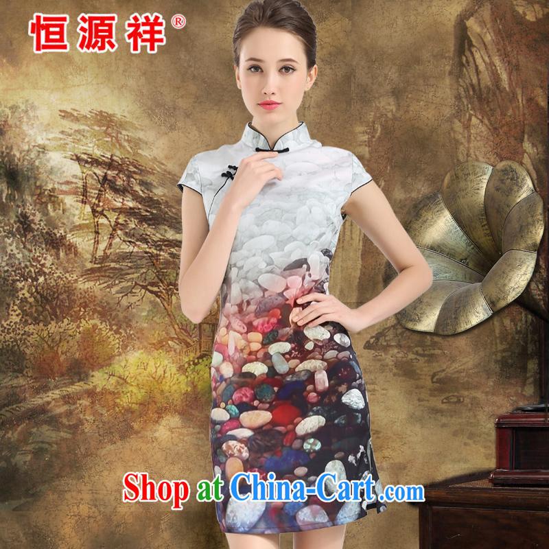 New listing the Hang Seng Yuen Cheung-2015 spring and summer Jurchen, Silk Cheongsam sauna silk heavy silk Silk Dresses stamp silk skirt white XXL