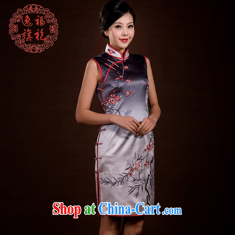 once and for all and well cheongsam custom 2015 new improved stylish dresses short summer heavy silk embroidery cheongsam dress black and white gradient tailored 20 day shipping