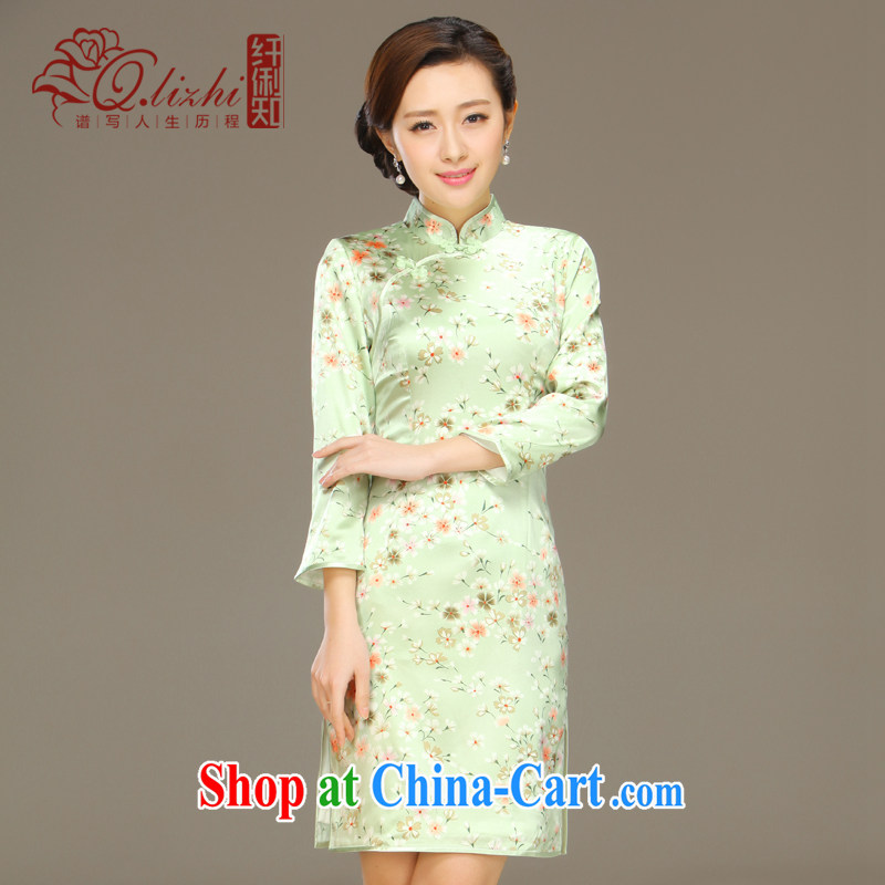 Slim li know land butterfly 2015 spring and summer new stylish and improved cultivation retro long Silk Cheongsam dress QLZ Q 15 6001 Butterfly Lovers XXL