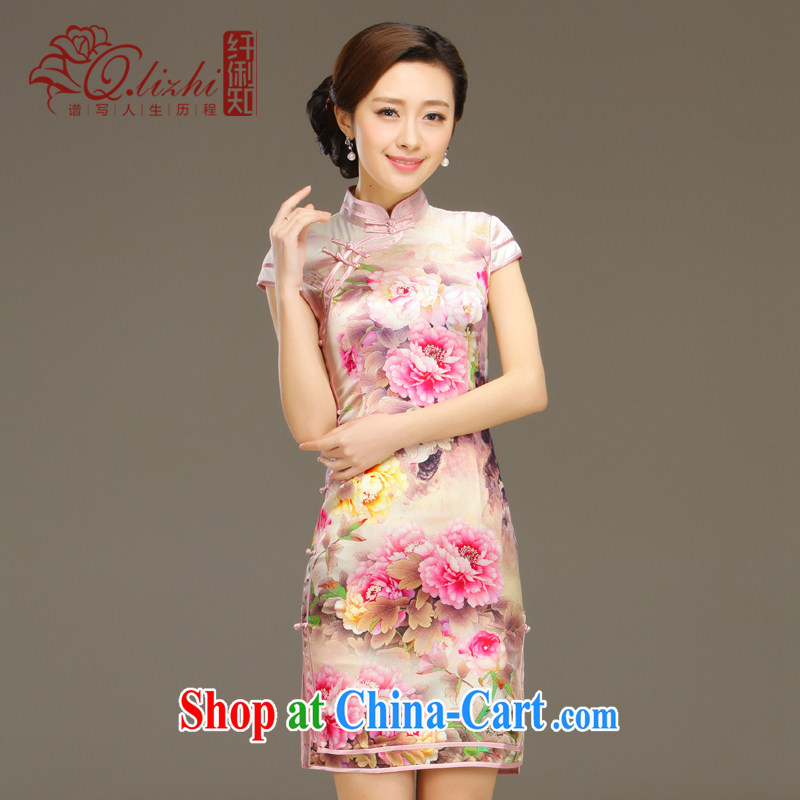 Slim li know zipping by summer 2015 new retro elegant refined and stylish everyday silk sauna silk short cheongsam QLZ Q 15 6003 zipping by L pre-sale 5 days