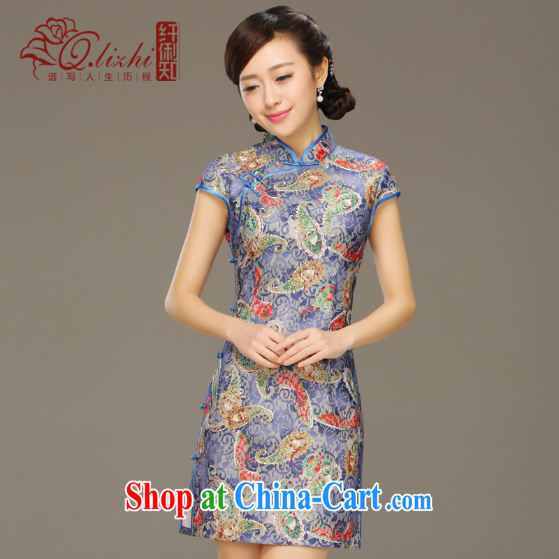 Slim li know Canada Clip daily cheongsam dress improved stylish summer 2015 new lace dress cheongsam beauty QLZ QQ 15 6004 Canada Clip XXL