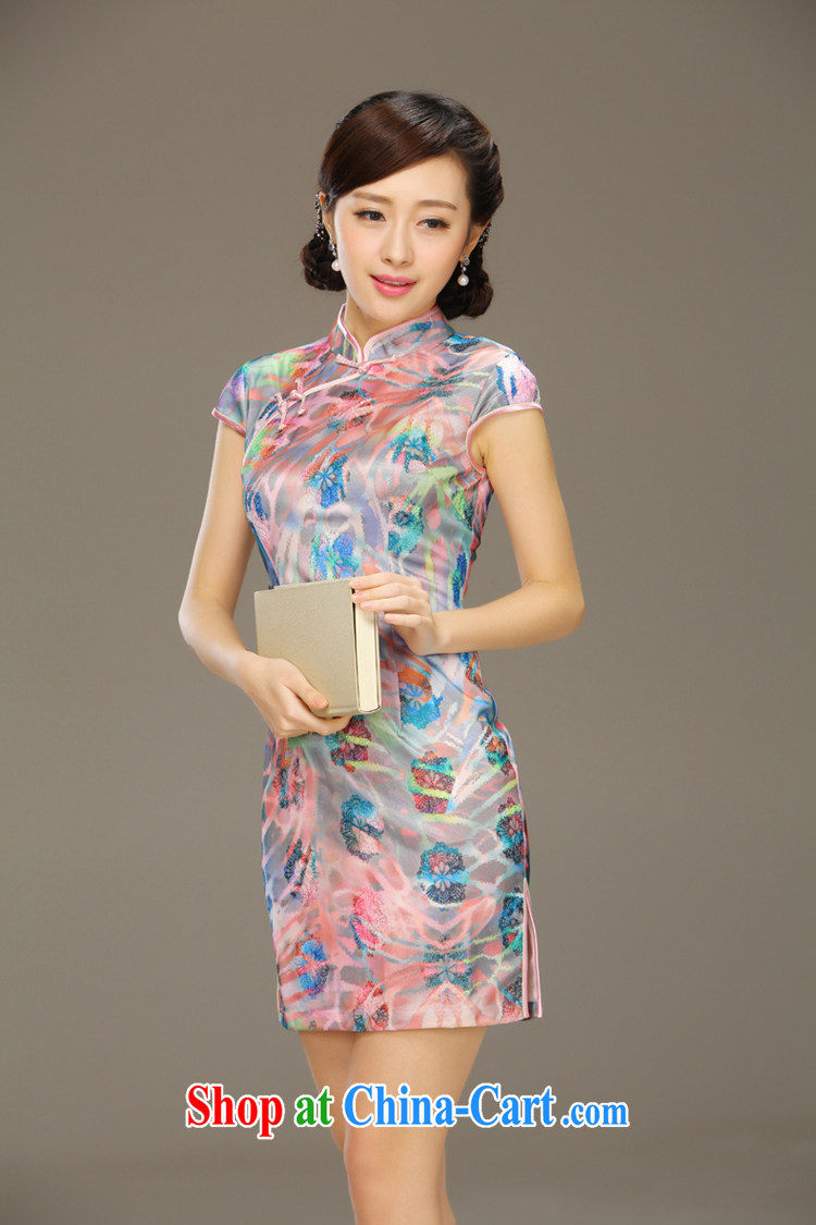 Slim li know Yee-kam Ethnic Wind cheongsam dress girls lace dress new improved stylish Chinese short-sleeved daily QLZ Q 15 6005 Yee-kam XXL pictures, price, brand platters! Elections are good character, the national distribution, so why buy now enjoy more preferential! Health