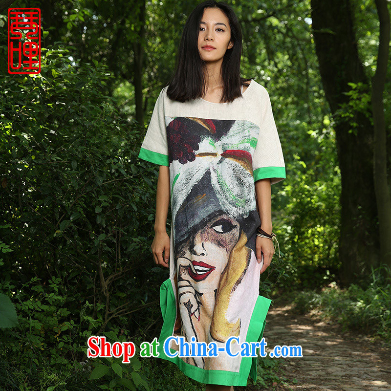Chin miles stamp dress summer 2015 new mobile mapping in case skirt pure cotton the improved cheongsam floral
