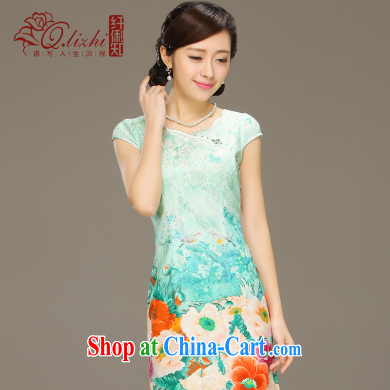 Slim li know glass dream 2015 spring and summer new stylish dresses girls lace short-sleeve beauty package and cheongsam dress QLZ Q 15 6018 glass dream - Bosnia and Herzegovina, XXL