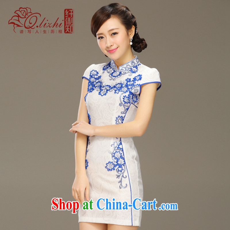 Slim li know flow screen summer 2015 classic improved stylish retro beauty graphics thin short cheongsam dress QLZ Q 15 6041 flow fluorescent XXL