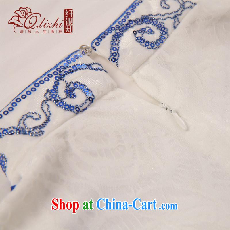 Slim li know flow screen summer 2015 classic improved stylish retro beauty graphics thin short cheongsam dress QLZ Q 15 6041 flow XXL screen, slim Li (Q . LIZHI), online shopping