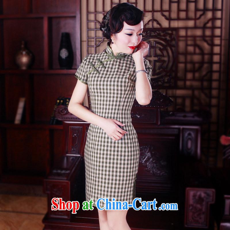 Wind turbine sporting cheongsam dress 2015 summer improved stylish cultivating cotton the cheongsam dress retro dresses 5033 cyan XXL