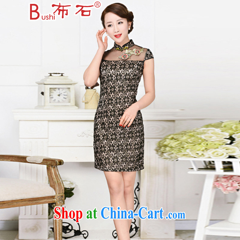 The stone 2015 summer new stylish short-sleeve dresses lace cheongsam dress black lace two flower peony flower 2XL