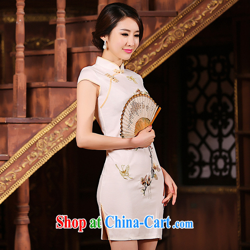 Love spell Fort 2015 new summer new retro short cheongsam stylish improved ethnic wind linen embroidery cheongsam dress yellow S _78 _ 64_ 84_