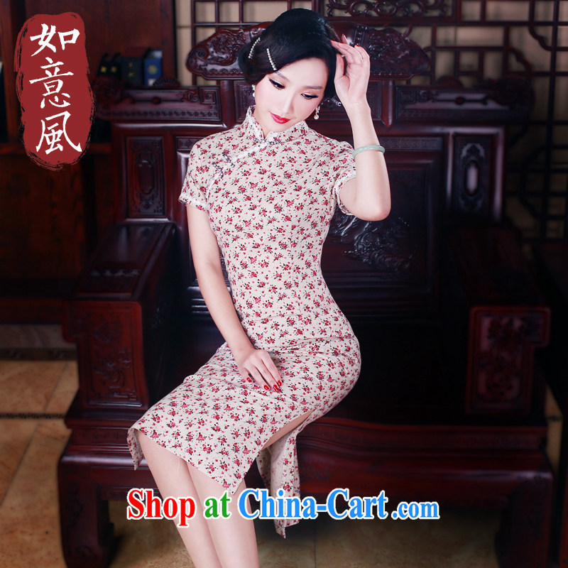 Unwind after the 2015 spring cheongsam dress daily fashion improved retro long cotton robes the commission 5015 fancy XXL