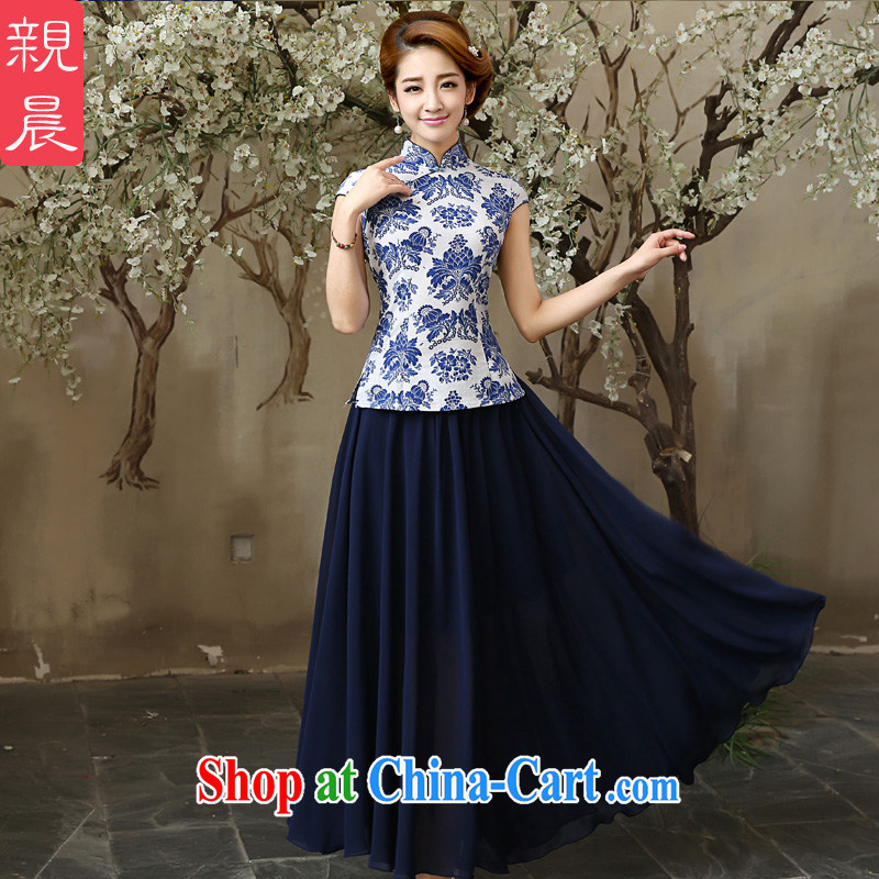 The pro-am 2015 as soon as possible summer day new retro Ethnic Wind cotton cultivation the female blue and white porcelain dresses T-shirt T-shirt + skirt M - waist 70 CM
