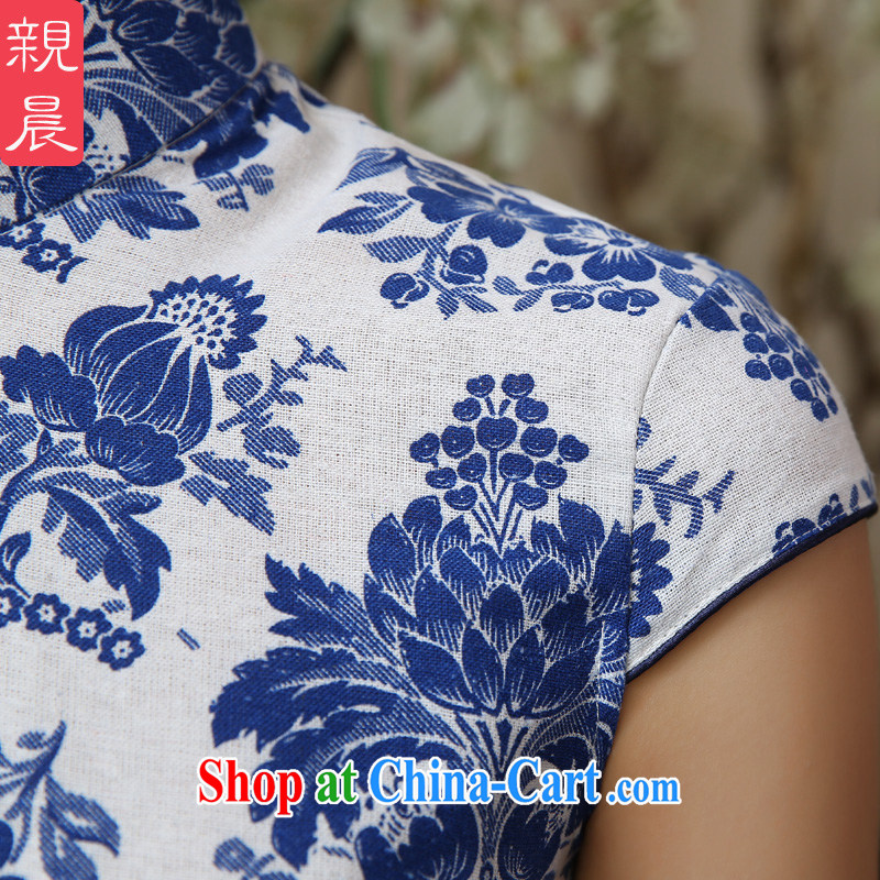 The pro-am 2015 as soon as possible summer day new retro Ethnic Wind cultivating cotton the girl with blue and white porcelain dresses T-shirt T-shirt + skirt M - waist 70 cm, and the pro-am, and shopping on the Internet