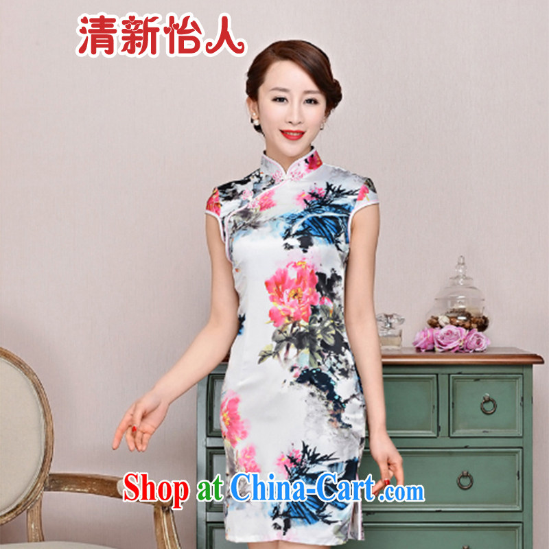 Refreshing new Ethnic Wind elegant low the forklift truck serving toast improved cheongsam dress summer T-shirt dresses female white red Peony floral XXL