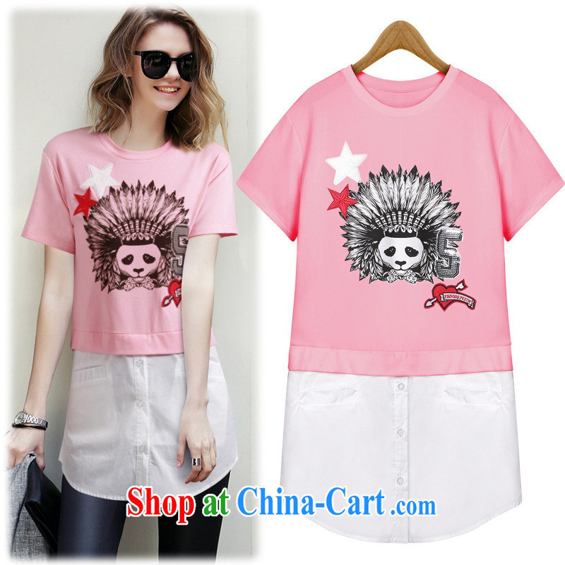 hamilton 2015 European site summer new women round-collar short-sleeve Panda pattern, with stitching A field stylish T pension female white L