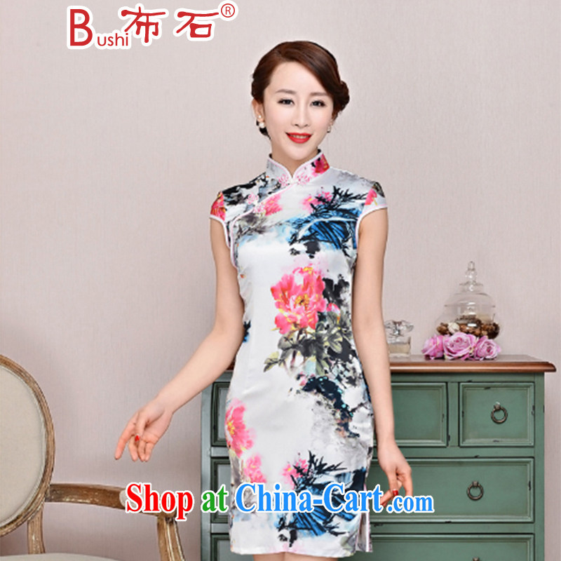 The stone new Ethnic Wind elegant low the forklift truck serving toast improved cheongsam dress summer T-shirt dresses female white red Peony floral M