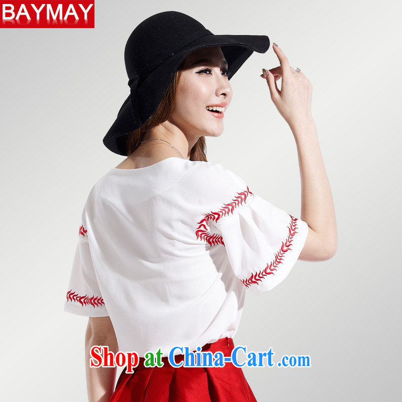 Ya-ting store 2015 Korean version of the new paragraph 100 cultivating a doll style graphics thin female short-sleeved snow woven embroidery t-shirt 85,050 red XL