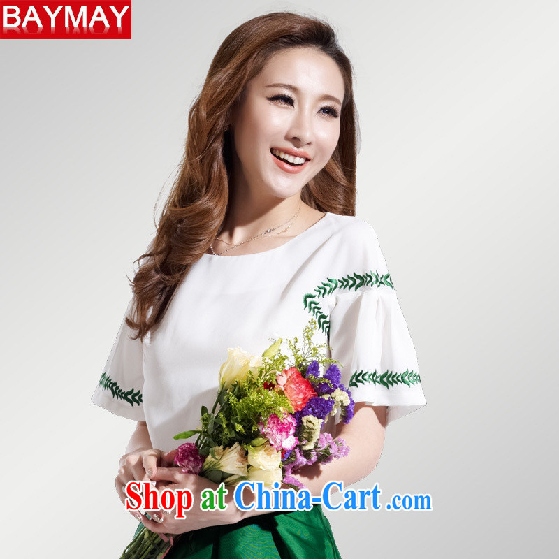 Ya-ting store 2015 Korean version of the new paragraph 100 cultivating a doll style graphics thin female short-sleeved snow woven embroidery t-shirt 85,050 XL red, blue rain bow, and shopping on the Internet