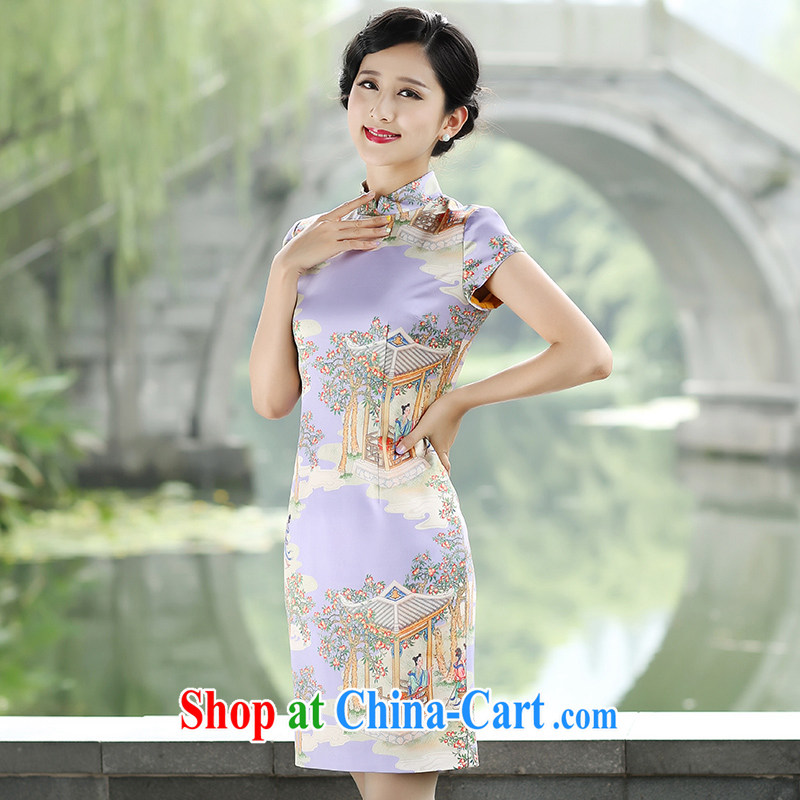 The Cayman 2015 new stylish robes sauna silk fine stamp beauty and elegant qipao fairies picker peach purple XL