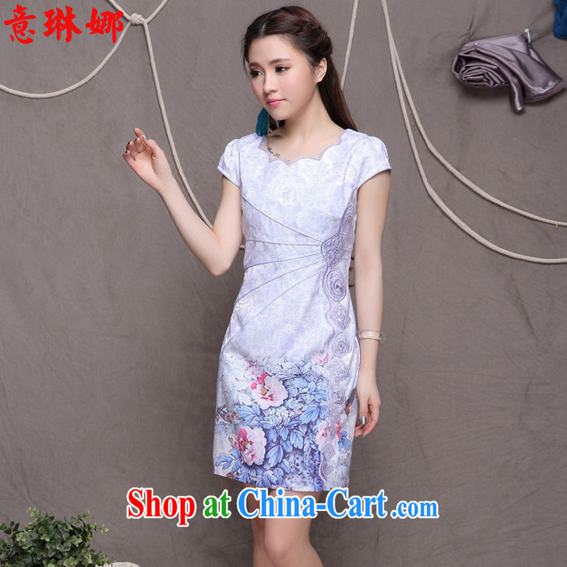 to Lin, summer 2015 new high-end antique ethnic stylish Chinese qipao dress beauty graphics thin dresses qipao 9902 violet S