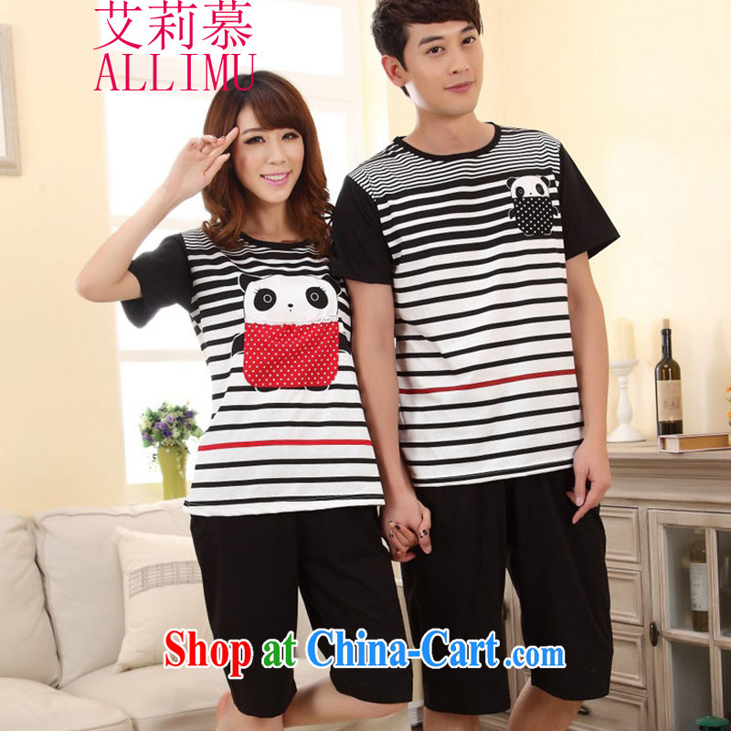 Allie's stylish new cotton short sleeve with black-and-white Panda couples replace pajamas clothes FA R 1013 6620 black XL