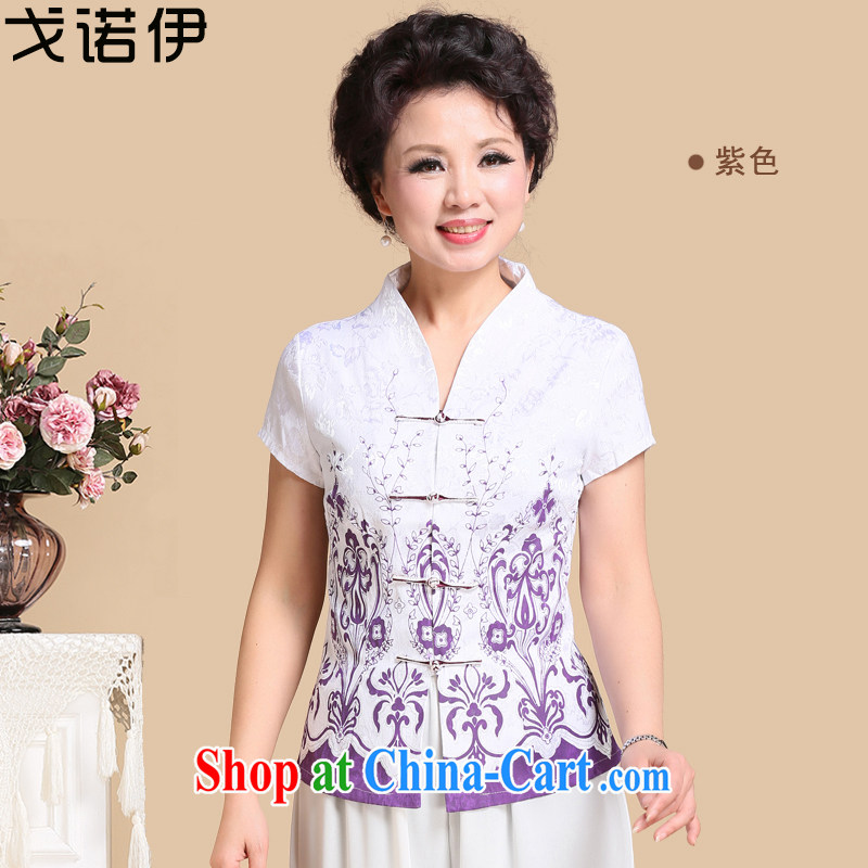 Al Gore, the 2015 middle-aged and older women with spring loaded new short-sleeved middle-aged summer Ethnic Wind T shirt MOM load the code 8068 shirt purple 4 XXL .