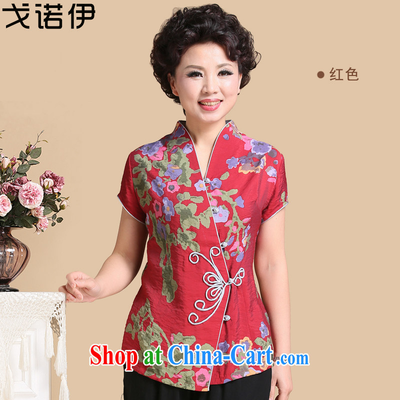 Al Gore, the 2015 spring and summer New T shirts, older mothers with Tang is a short-sleeved Sau San video thin large, short, small jacket summer thin shirt women 8067 red 3 XL .