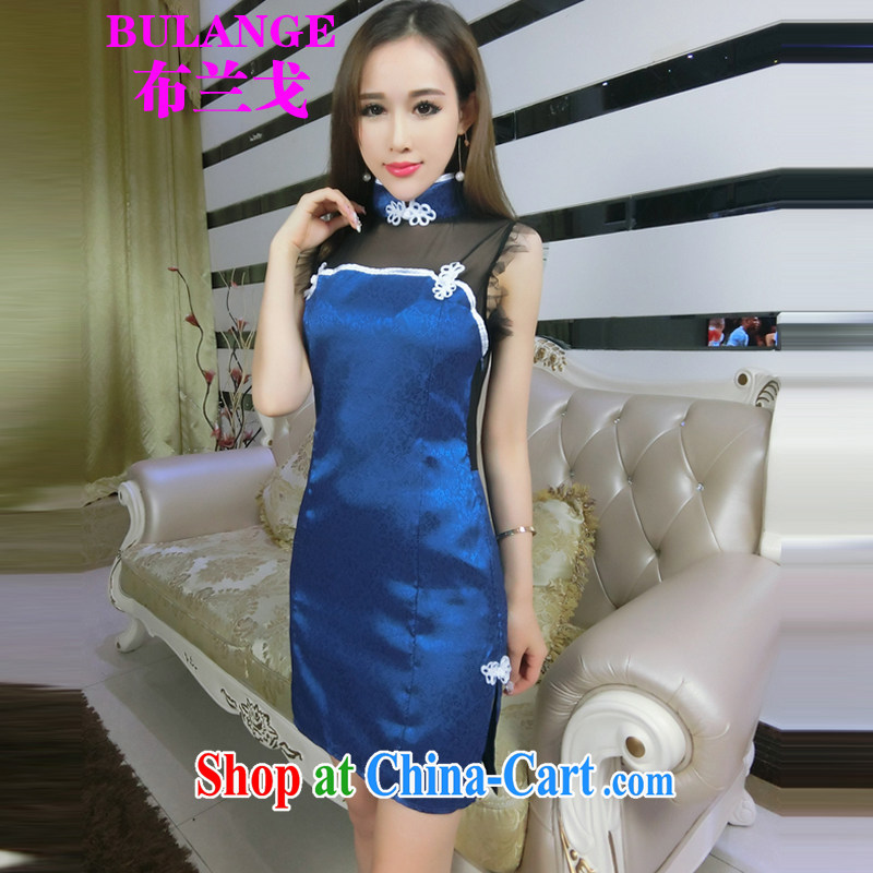 2015 summer new retro Web yarn current forwarding side on the truck cheongsam dress package and back exposed cheongsam dress girls 0672 photo color code